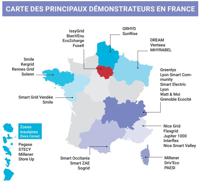 Carte des principaux démonstrateurs en France