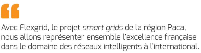 Avec Flexgrid, le projet Smart Grid de la région Paca, nous allons représenter ensemble l'excellence française dans le domaine des réseaux intelligents à l'international.